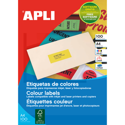 BOITE 100 ETIQUETTES MULTI-USAGES A4 210X297MM JAUNE FLUO REFERENCE APLI 100754