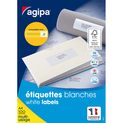 BOITE 100 ETIQUETTES BLANCHES MULTI-USAGES CLASSIQUE 210X297MM REFERENCE AGIPA 119004