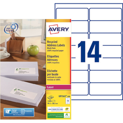 1400 ETIQUETTES ADRESSES RECYCLEES BLANCHES 99,1 X 38,1 MM LASER (LR7163-100) AVERY