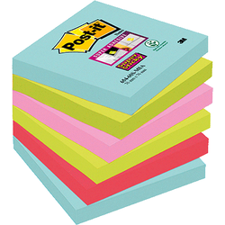 LOT 6 BLOCS POST-IT SUPER STICKY 76X76MM COLLECTION MIAMI
